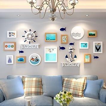 HJKY marco de la foto de pared conjunto Sala de estar comedor sala de la pared de fondo de la habitación autoadhesivo 3d pegatinas de pared sólida marco pegatinas de decoración pegatinas de carta, 12M blanco
