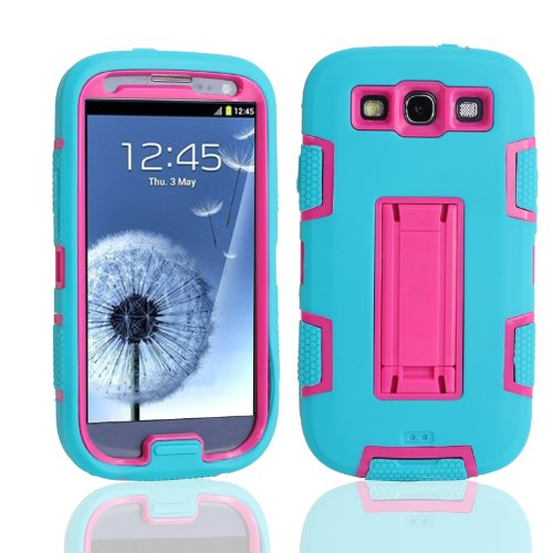Magicsky Robot Series Hybrid Armored Case With Kickstand For Samsung Galaxy Iii S3 I9300 - 1 Pack - Retail Packaging - Hot Pink/Blue