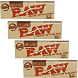 RAW Unbleached Organic 1.25 Size Cigarette Rolling Papers, 4 Packs