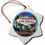 3dRose orn_156501_1 Welcome to Fabulous Las Vegas, NV Snowflake Ornament, Porcelain, 3-Inch