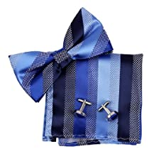 BT2127 Blue Stripes Silk Pre-tied Bow Tie Cufflinks Hanky Gift Idea By Epoint