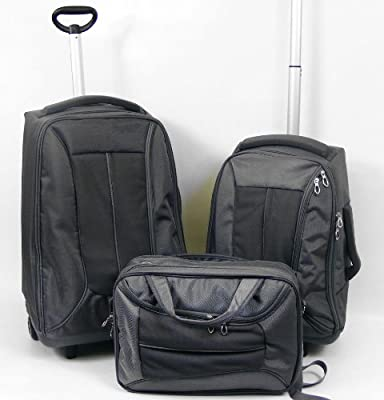 3 Piece Wheeled Luggage Set - Grey by Rock House