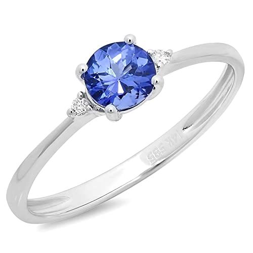 0.51 carats tanzanite & round diamonds engagement ring gold 14k