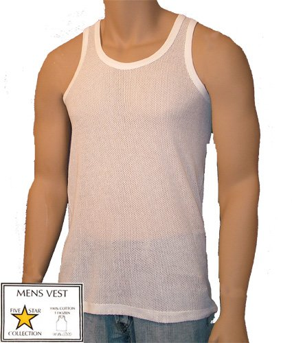 Mens Boys 2 In A Pack Underwear 100% Cotton Eyelet Mesh Singlet Vests White Sizes M-L-XL (X Large)