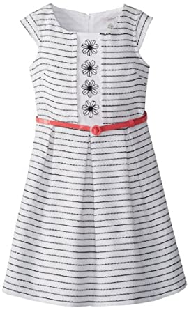 kc parker Big Girls' Big Girl Boucle Dress, Black/White Stripe, 10