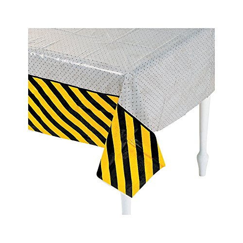"Fun Express Plastic Construction Zone Tablecloth, 54 x 108"" - 1"