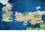 """High Quality Silk Fabric Cloth Game of Thrones Seven Kingdoms World Map No. 2 Poster 24"""" X 36"""" By ThinkGet"""