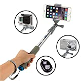 VertiGo® Selfie Stick Portable Self-portrait Extendable Monopod with Bluetooth Remote Shutter for iPhone 6s, 6, 5s, Android and All Other Smartphones - Platinum