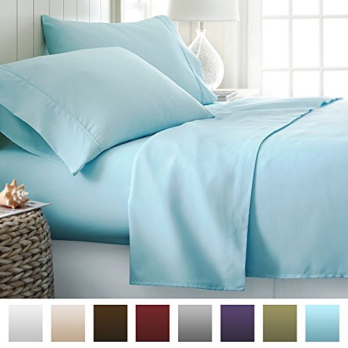 Beckham Hotel Collection Luxury Soft Brushed Microfiber 4 Piece Bed Sheet Set Deep Pocket - Queen - Aqua (Bed Sheets Deep Pocket Queen compare prices)
