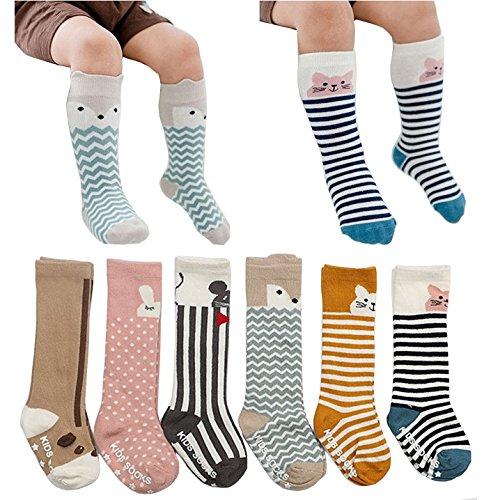6 Pairs Unisex Animal Baby Girls Boys Socks Knee High Stockings Anti Skid Socks (M (2-4 Years))