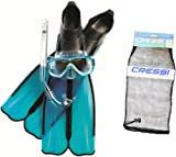 Cressi Kids Rondinella Fins Plus Onda Mask Plus Gringo Snorkeling Set - Aquamarine/Black, UK 1/1.5
