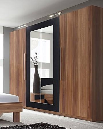 Kleiderschrank Schrank 54035 4-turig mit Spiegel kernnussrot / schwarz
