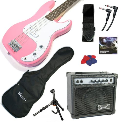 PROFESSIONALLY SET-UP - PINK ELECTRIC BASS GUITAR AMPLIFER STARTER PACKAGE