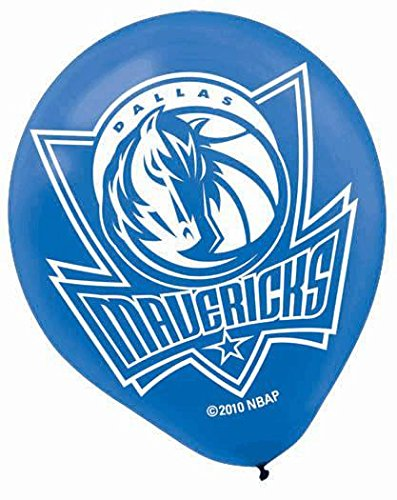 "Amscan Dallas Mavericks Printed Latex NBA Basketball Team Party Balloons, 12"", Blue/Black"