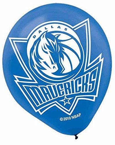 "Amscan Dallas Mavericks Printed Latex NBA Basketball Team Party Balloons, 12"", Blue/Black"