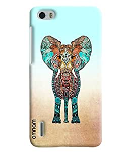Omnam Elephant In Color Effect Printed Designer Back Cover Case For Huawei Honor 6
