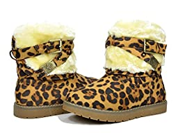 Dream Pairs KAILEY Girls Winter Fully Fur Lining Kids Snow Boots Leopard Size 8