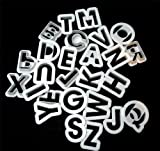 """White Plastic Alphabet Cookie Cutters 1 1/2"""" tall"""