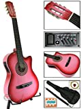 New Pink Electric Acoustic Guitar Cutaway Style W/ Accessories