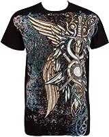Sakkas Ailes et Epées En relief argent métallique Manches courtes Col rond Coton T-Shirt Fashion homme