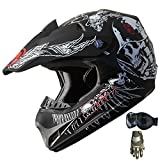 DOT ATV Motocross Helmet Combo 131 Black+gloves+goggles (L)
