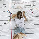 Doodle Cotton Duvet Cover to Personalise - Double-sided, with Wash-out Fabric Markers (Twin)