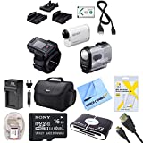 Sony HDR-AS200VR/W Action Cam + Live View Remote Kit HDRAS200VWRW HDR-AS200VWRW HDR-AS200V/WRW AS200 Video Handycam Camcorder Bundle with Deluxe Bag, 16GB Mico SD Card, AC/DC Charger, HDMI Cable, Battery Pack, and More