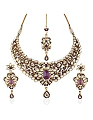 I Jewels Traditional Gold Plated Kundan Necklace Set With Maang Tikka For Women(Purple)(K7042Pu)