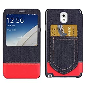 Jeans Style Flip Leather Case with Credit Card Slots & Call Display ID for Samsung Galaxy Note 3 N9000 in Red