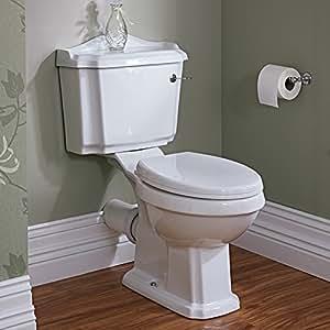 Hudson Reed HLB031EU - Toilette WC Traditionnel Design Rétro - Réservoir et Mécanisme de Chasse d'Eau - Céramique Blanche - Salle de Bain