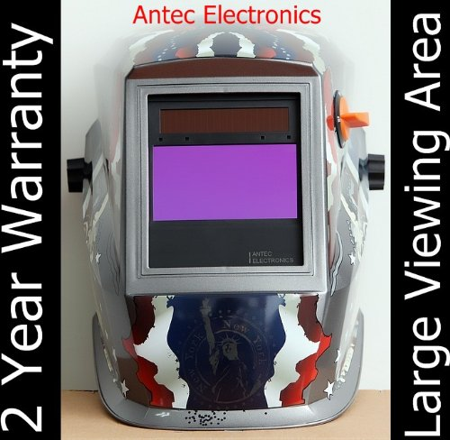 Antec Electronics AH4-330-219G Solar Power Auto Darkening Welding Helmet American Style with AF330 Large Viewing Size 3.78