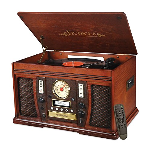 Victrola VTA-750B Nostalgic Aviator 7-in-1 Turntable Wooden Entertainment Center with Bluetooth, Mahogany (Victrola Turntable compare prices)