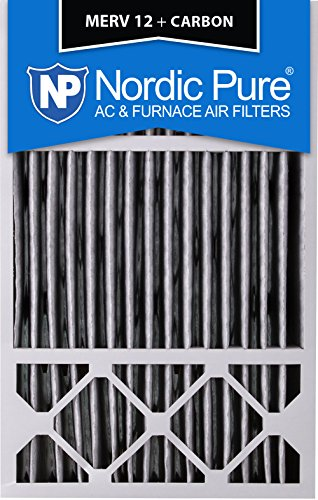 """Nordic Pure 16x25x5HPM12C-4 Honeywell Replacement Pleated MERV 12 Plus Carbon Filter (4 Pack), 16 x 25 x 5"""""""