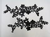ケミカルモチーフ レースモチーフ スパンコール付き 黒(MT-z021) 花 2枚セット ハンドメイド 装飾 資材 材料