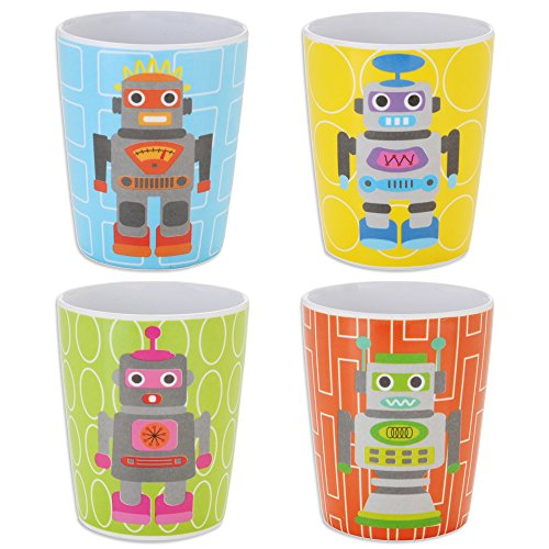French Bull Robot Kids Juice Cup, Set of 4