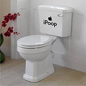 clew iPoop Toilet Tank Mural Art Bathroom Apple Funny Joke removable Vinyl Wall Decal Home Décor Large from Newclew