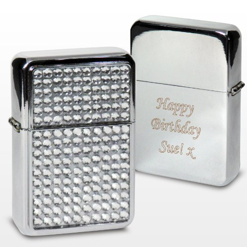 Laser Engraved Diamante Ladies Lighter - Personalised Birthday Gift