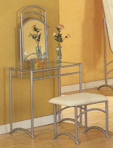 Modern Streamlined Silve Metal Vanity Table Mirror & Stool Bench Set