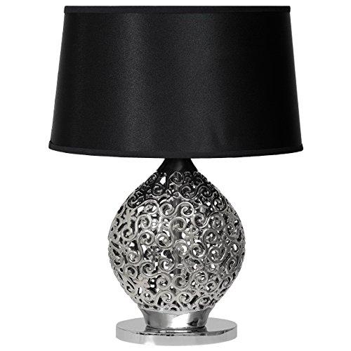 Lampada da tavolino lucida decorativa colore cromo paralume nero tessuto ceramica moderno con pattern in stile contemporaneo 1-bulb excl.E27 1x60W 230V