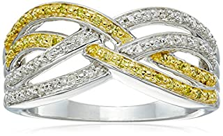 Sterling Silver Yellow and White Diamond Cross-Over Ring (1/7cttw, I-J Color, I2-I3 Clarity), Size 8