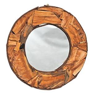 spiegel mit holzrahmen wandspiegel flurspiegel natur braun unikat rund 61 cm neu. Black Bedroom Furniture Sets. Home Design Ideas