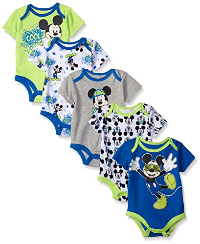Disney Baby Mickey 5 Pack Bodysuits, Multi/Blue, 9-12 Months