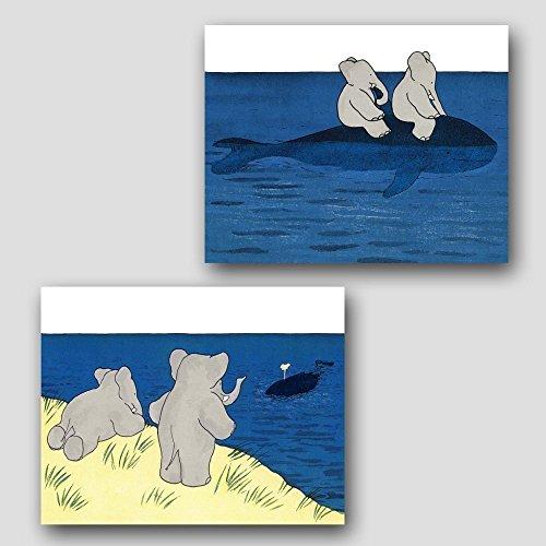(Set of 2) Babar the Elephant Art (Kids Prints, Nursery Wall Decor)