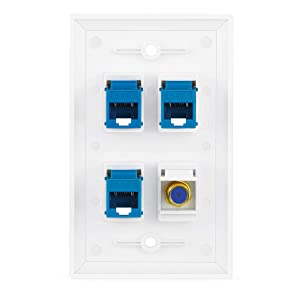 4 Port Wall Plate with Gold-Plated Coaxial TV Cable F Type + 3 Port Cat6 Ethernet Female to Female Jack in White . (Color: 3cat-coax, Tamaño: 3cat-coax)