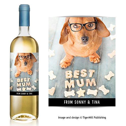 Personnalisé 'Best Mum' Vin étiquette pour chien teckel saucisse cadeau d'anniversaire ou fête des Mères