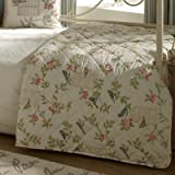 iLiv Shabby Chic Song Bird Reversible Quilted Throw, Eau De Nil, 200 x 200 Cm