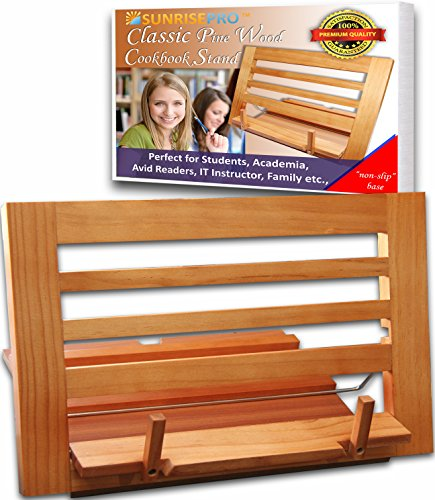 PREMIUM Cookbook Stand, Perfect Reading Rest for Recipe Book, Ideal Cookbook Holder Or Reading Holder Stand Of Large To Small Book (Pine) (Wooden Recipe Holder compare prices)