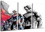 Superman vs. Batman Motiv, 3-teilig auf Leinwand (Gesamtformat: 120×80 cm), Hochwertiger Kunstdruck als Wandbild. Billiger als ein Ölbild! ACHTUNG KEIN Poster oder Plakat!