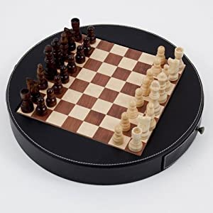 Bey Berk Wood and Leather Chess Set