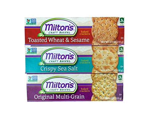 Milton's Non-GMO Baked Crackers 3 Flavor Variety Bundle: (1) Toasted Wheat & Sesame, (1) Crispy Sea Salt, and (1) Original Multi-Grain, 8.3 Oz. Ea. (3 Boxes) (Multigrain Sea Salt compare prices)